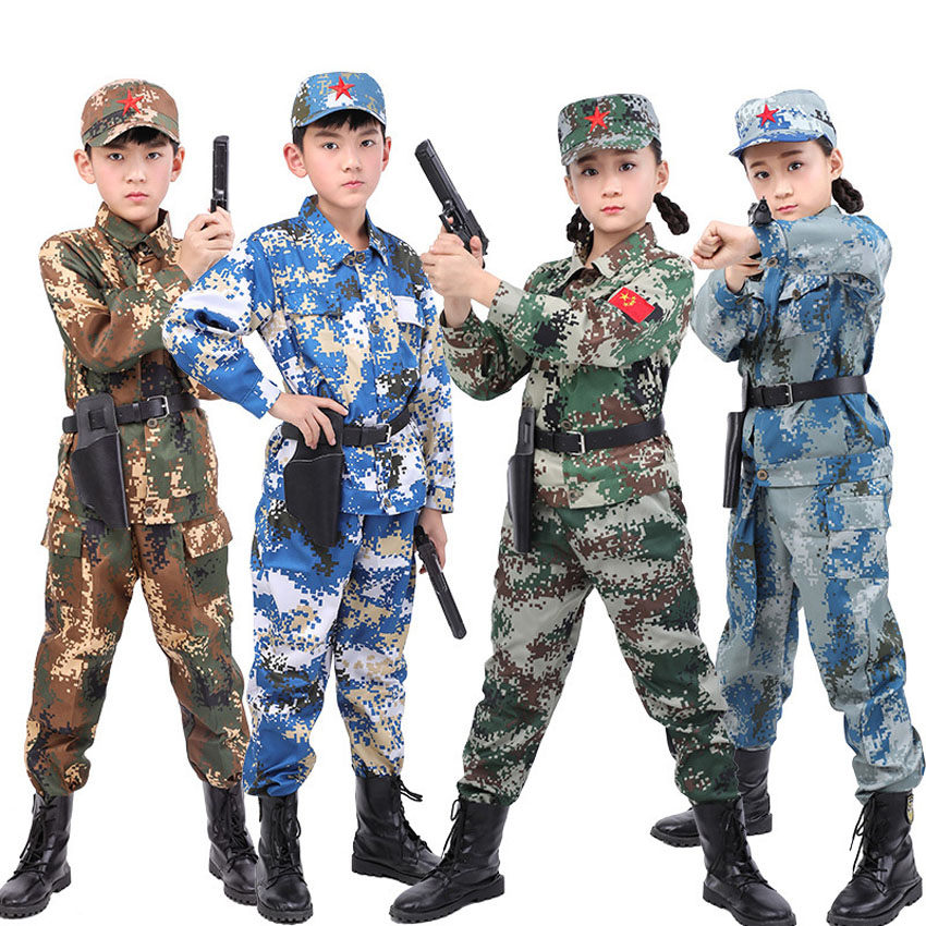 11a809af9 US $8.75 39% OFF|Children Student Military Uniform Tactical Combat Jacket  Pants Set Camouflage Desert Kids Boys Girls Costumes Performance-in  Military ...
