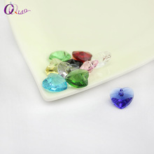 10pcs/lot 14mm heart shape charms crystal  beads single hole beauty glass beads for Jewelry making DIY ,Necklace accessories