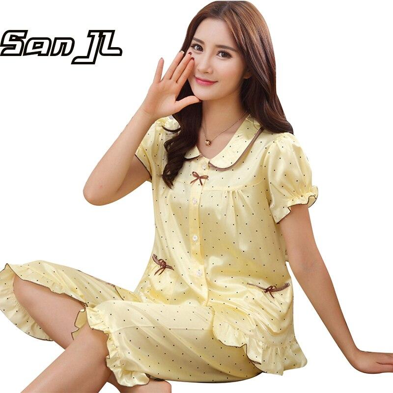 81c6dcddf003 New Summer Short Sleepwear Sets Nightgowns Comfy Pajamas Pretty Nighties  Artificial Silk Polka Dot Printed Knee-Length Pyjama