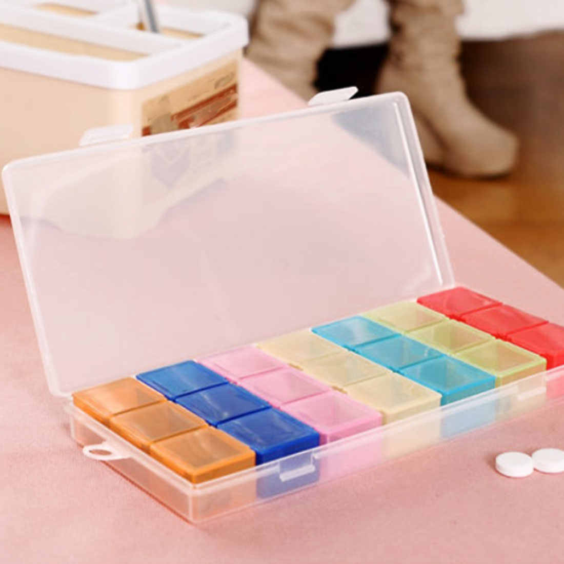 21 Compartment 7 Days Pill Case Medicine Storage Tablet Pill Box With Clip Lids Medicine Organizer Pill Case Splitters Storage