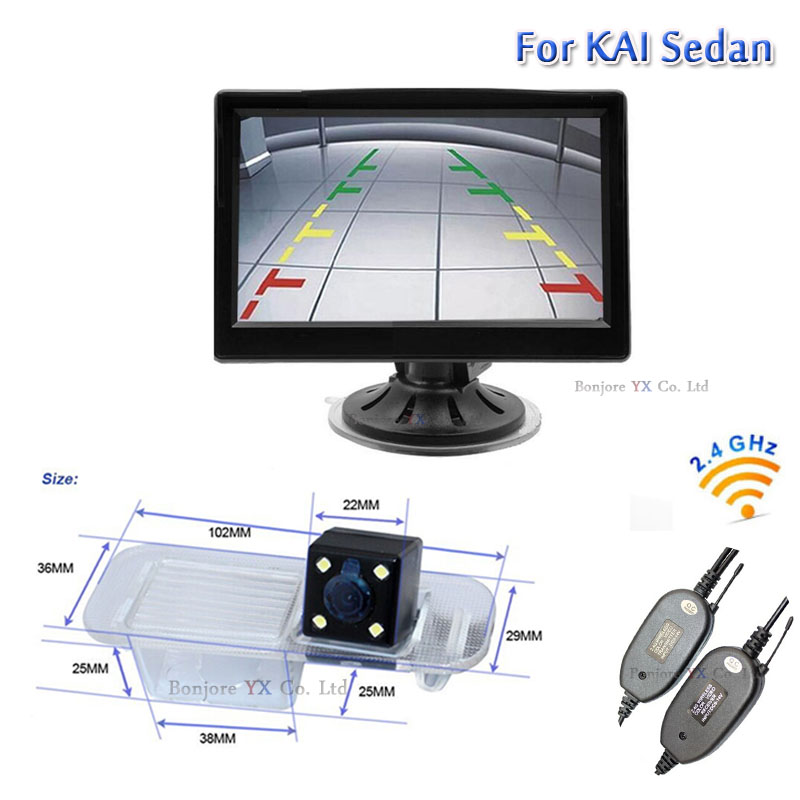 Wireless Parking Camera for KIA/RIO Sedan with 5 Inch TFT LCD Monitor Mirror 800*480 AUTO Rearview camera backup Specical Cam