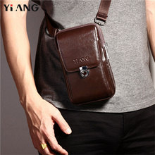 YIANG 2018 Men's Fashion Genuine Leather Cross body Shoulder Bags Men's Messenger Travel Bag Waist Belt Pack Mobile Phones Bags