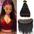 13x4 Ear To Ear Lace Frontal Closure With 3 Bundles 8A Brazilian Straight Virgin Hair With Closure Ms Lula Lace Frontal Weave