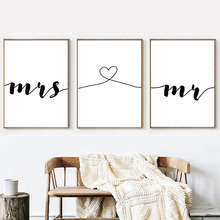 Mr Mrs Family Simple Quotes Love Romantic Wall Pictures For Living Room Nordic Poster Art Canvas Painting Picture Unframed