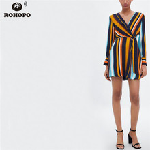 ROHOPO Striped Long Sleeve Vintage Dress Belted Tunic Micro Flare Hem Draped Breathable Dresses #BM1805