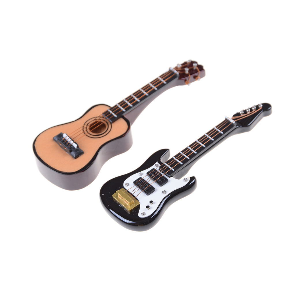 1PCS Guitar Accessories Dollhouse Miniature Instrument Part For Home Decor Kid Wood Furniture Craft Ornament 1/12 Scale