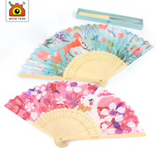 Children's cloth carrying mini cute cartoon folding fan girls outdoor sunscreen products crafts for kids gift for the princess