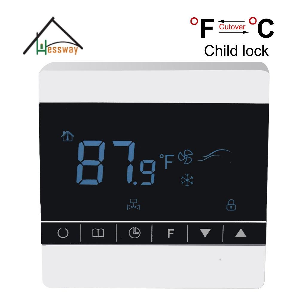 AC85~260V Fahrenhite/Centigrade Touch screen room fan coil unit thermostat with Child lock