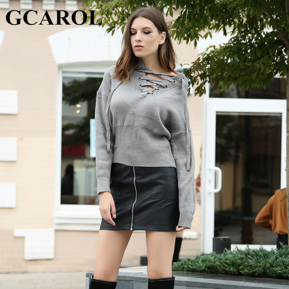 GCAROL Euro Style Criss Cross V Neck Women Sweater Autumn Winter Tie Up  Knitted Pullover High Street Warm Knit Tops -in Pullovers from Women s  Clothing ... a54b6dacd