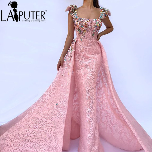 e95a5a45c4 US $299.0 |LAIPUTER New Fashion Straight Square Collar Cap Sleeves Beading  with Train Pink Evening Dress-in Evening Dresses from Weddings & Events on  ...