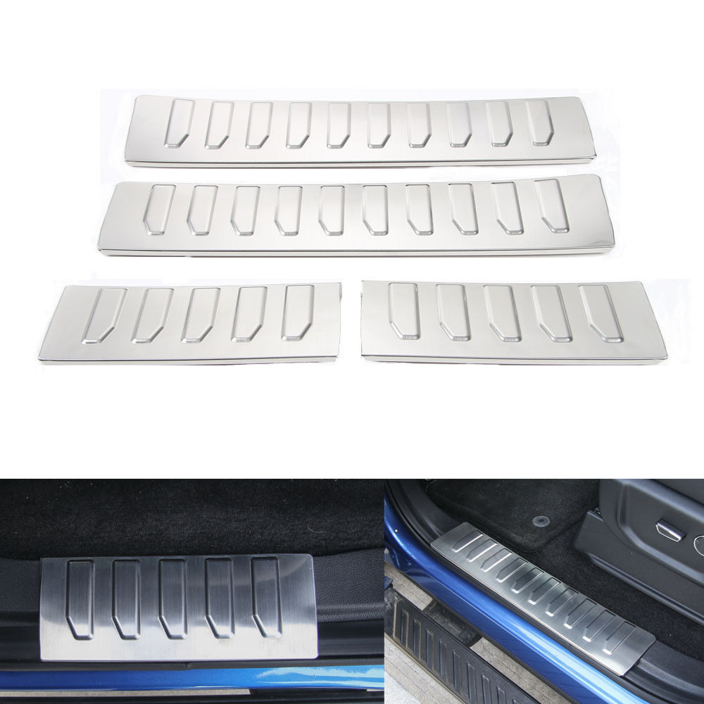 Interior Door Sill Scuff Plate Cover Trim Welcome Pedal Anti-collision Guard Protector For Ford F-150 F150 2015 2016 Car Styling ball style pvc anti collision angle guard for kids translucent white
