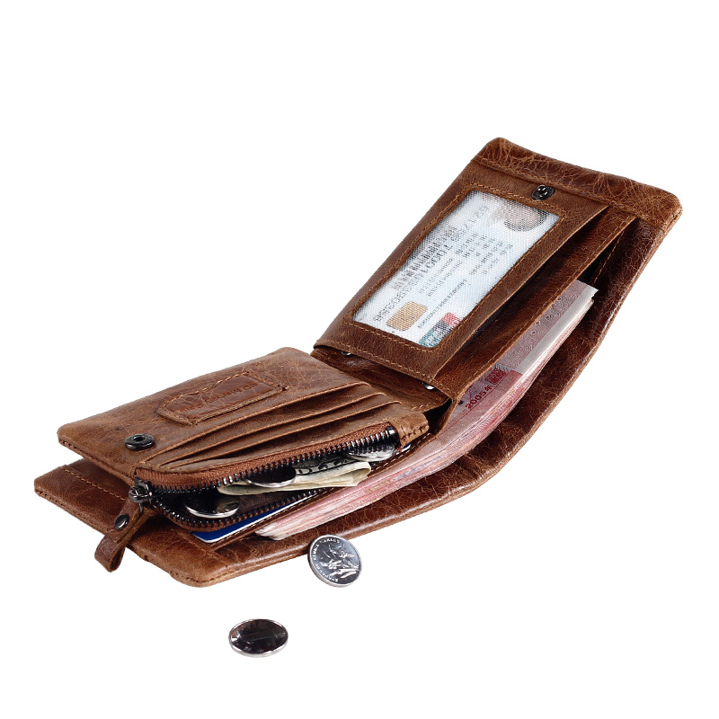 Genuine Leather Cowhide Vintage Mens Wallets Money Bag Cards Holders with Photo Slots Dollar Price Male Walets Purses Carteira