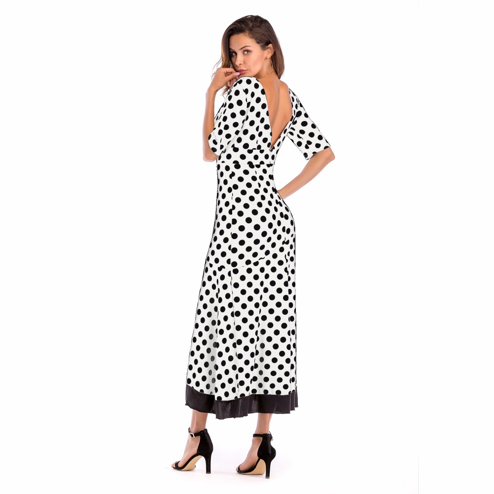 PGSD Fashion Big size Women Clothes Irregular Lotus Edge Splicing Deep V collar sexy Backless Wave dot printing Dress female in Dresses from Women 39 s Clothing