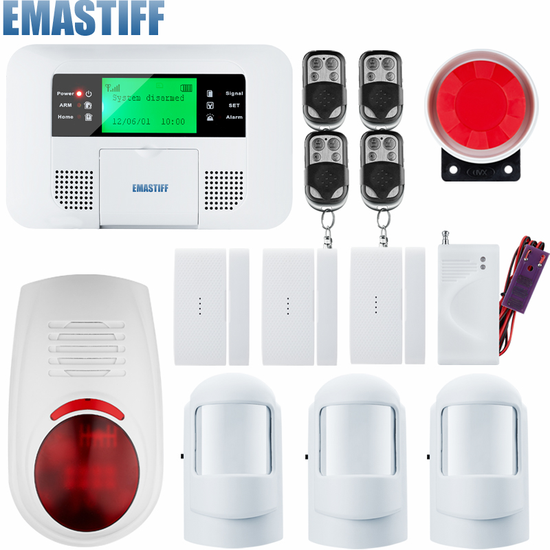 English Russian Spansih Voice Prompt  PSTN SIM GSM Alarm System Home Security Auto Dialing Dialer SMS Call Remote control new wireless wired gsm voice home security burglar android ios alarm system auto dialing dialer sms call remote control setting