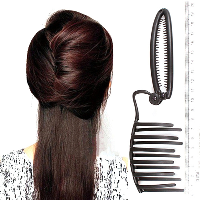 Women Diy Formal Hair Styling Updo Bun Comb And Clip Tool Set For