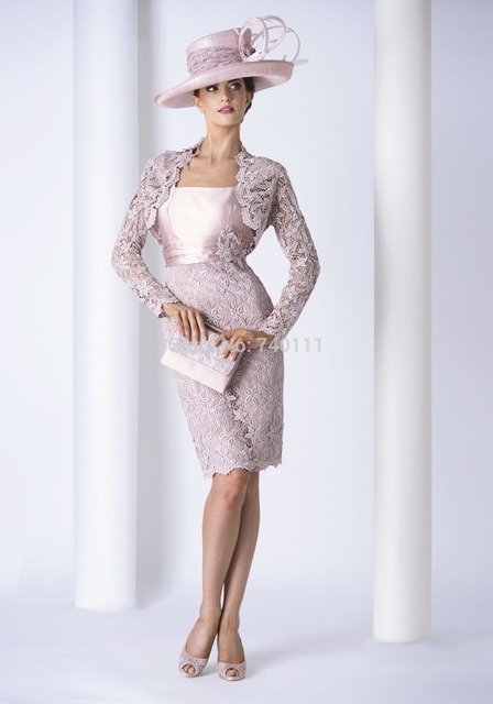 e841127f712 Lace Jacket Knee Length Sheath Mother Of The Bride Dress Women Formal  Outfit For Wedding 2015 New Style