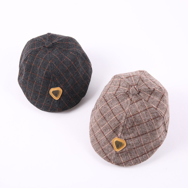 541eb73ac14a53 Iron Triangle Label Fashion Autumn Winter Kids Baby Girl Boy Beret Hat  Peaked Cap Plaid Child Leisure Caps Hats Drop Shipping