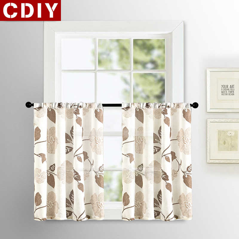 CDIY Floral Short Curtains For Kitchen Curtain Voile For Living Room Bedroom European Sheer Curtains Window Screening Customized