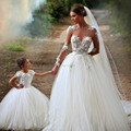 High Fashion Mother And Daughter Matching 2 Piece Wedding Dresses 2016 See Through Lace Applique Sexy Long Sleeve Bridal Dresses