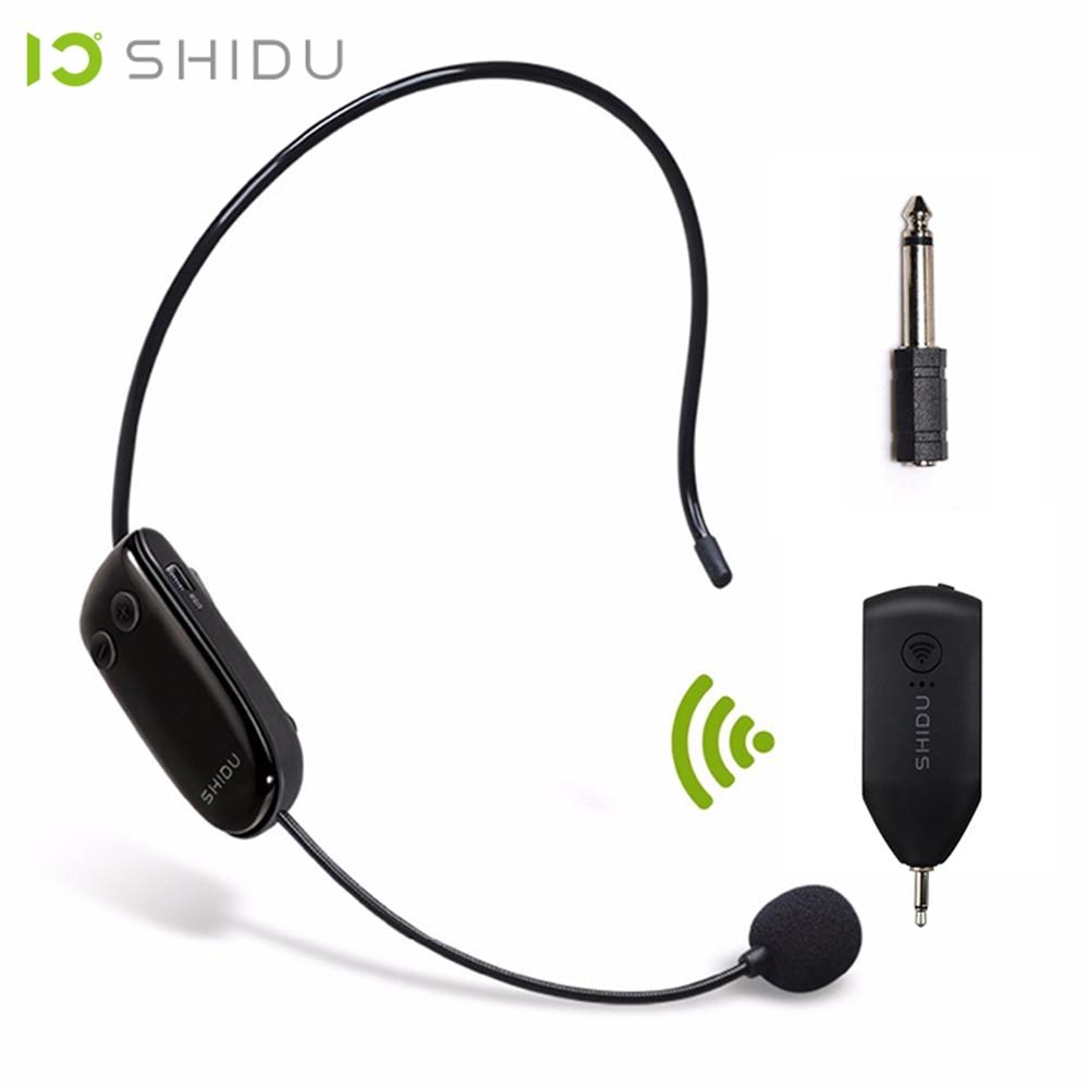 SHIDU UHF Wireless Head Headset Microphone 2 In 1 Handheld  Portable MIC Voice Changer Amplifier For Speech 3.5mm Plug  ReceiverMicrophones