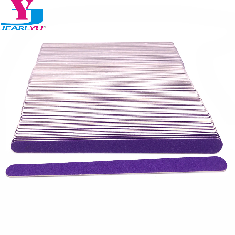 100 Pcs/Lot Wood Nail File Manicure Pedicure Buffer Sanding Files Crescent Purple Sandpaper 180/240 Grit Nail Art Salon Tools