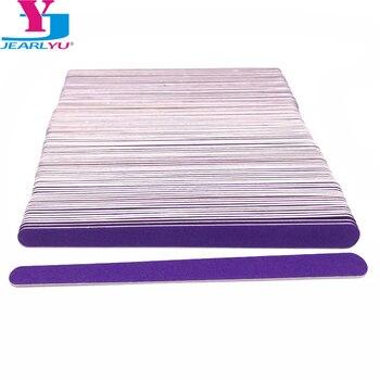 100 Pcs/Lot Wood Nail File Manicure Pedicure Buffer Sanding Files Crescent Purple Sandpaper 180/240 Grit Art Salon Tools
