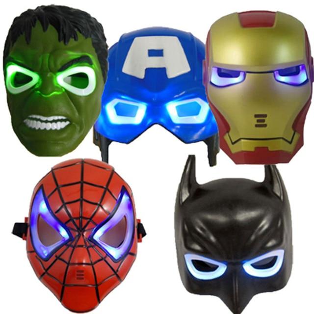 Оптовая продажа 5 Шт./лот LED Маски Свет Супергерой Маска Бэтмен/человек-Паук/Капитан Америка/Халк/Iron Man маска для Halloween Party