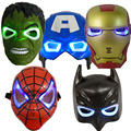 Comercio al por mayor 5 Unids/lote LED Luz Máscaras Máscara de Superhéroe Batman/Spider Man/Capitán América/Hulk/Iron Man máscara para la Fiesta de Halloween