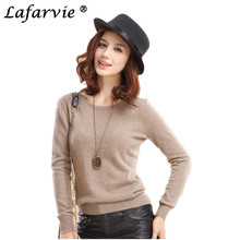 Lafarvie Off Sale Cashmere Blend Knitted Sweater Women Tops Autumn Winter Pullover Female Fashion Solid Color O-Neck Long sleeve