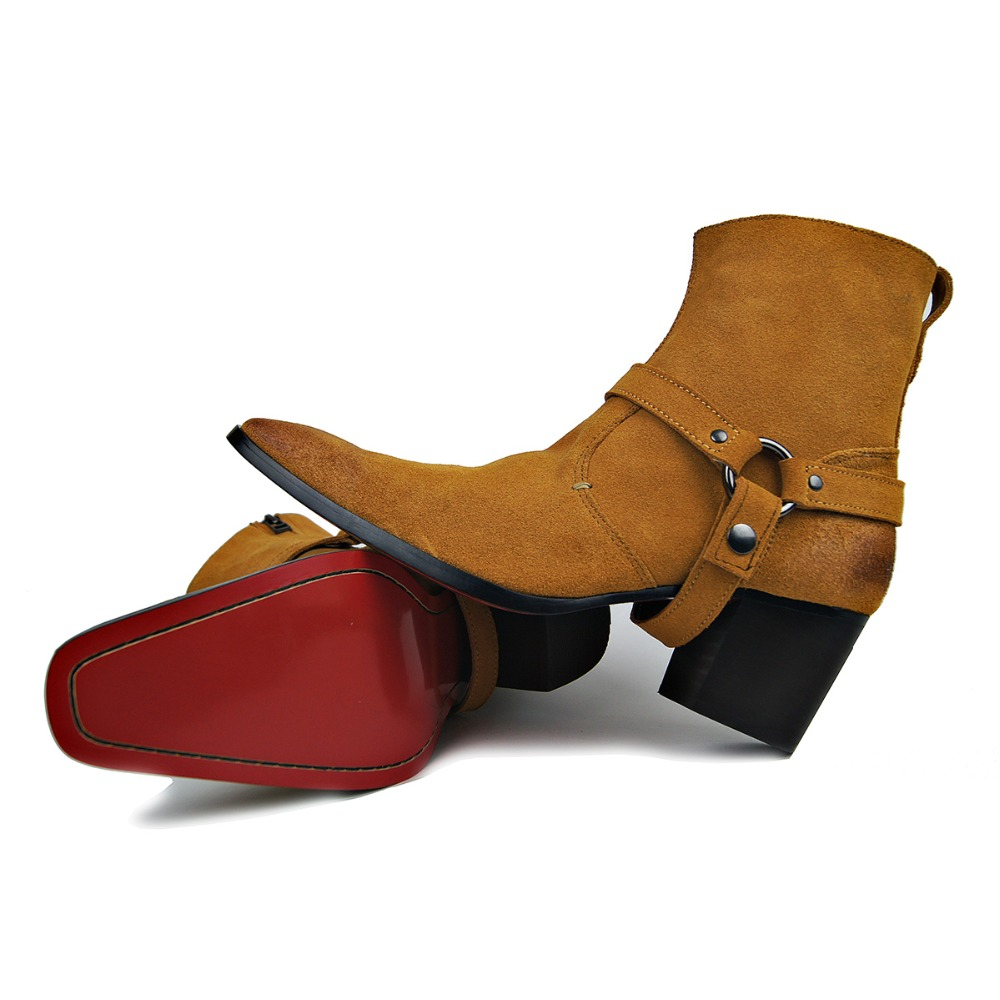 43c0145e119a6 US $75.32 19% OFF|OTTO Handmade Genuine Leather High Top High Heel Boots  Brand Martin Boot Classic Red Bottom Shoes Cow Leather Men Designer  Shoes-in ...