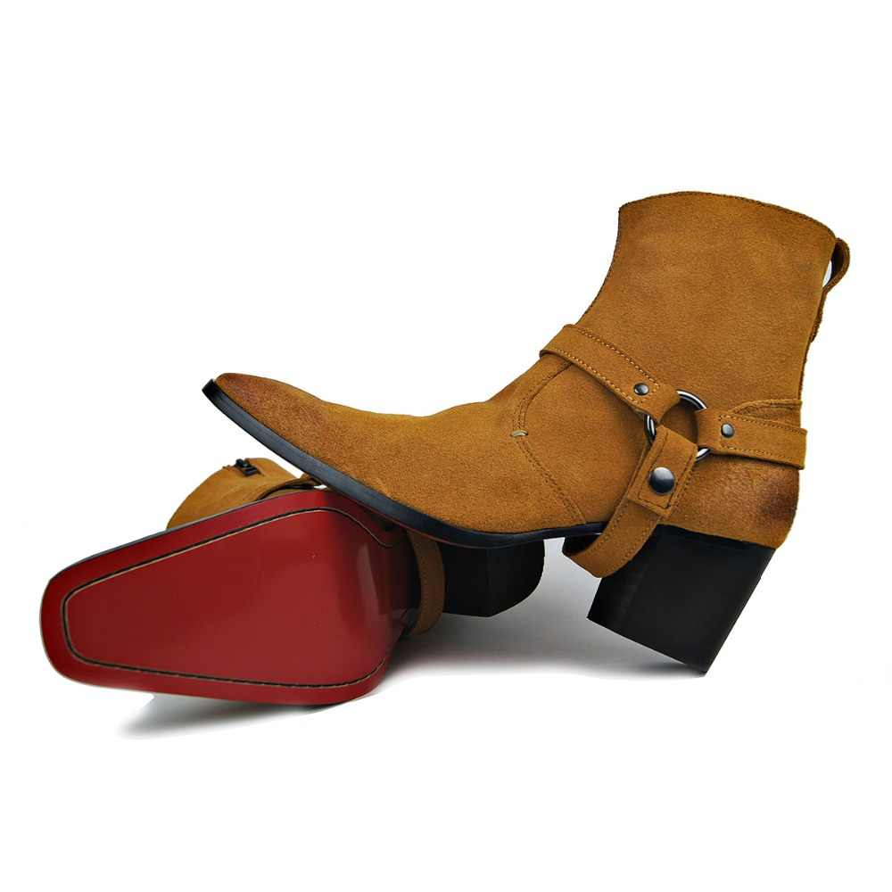 d40fccfea444 OTTO Handmade Genuine Leather High Top High Heel Boots Brand Martin Boot  Classic Red Bottom Shoes