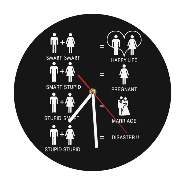 """1Piece Funny Happy Life Marriage Wall Clock 12"""" Wicked ..."""