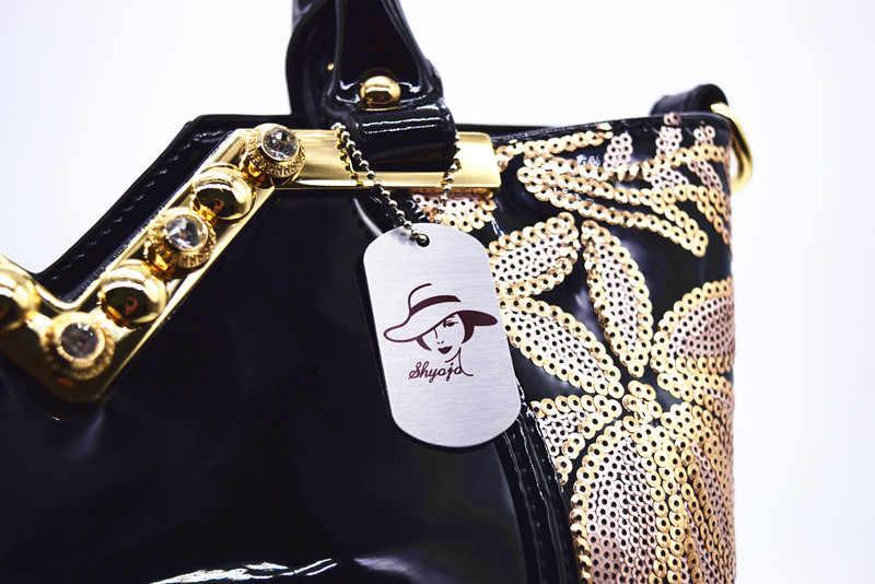 Bandolera de cuero patentada 2019, bolsos de fiesta de noche para mujer, bolsos de diseñador de marca de gran capacidad, bolso cruzado con lentejuelas para mujer