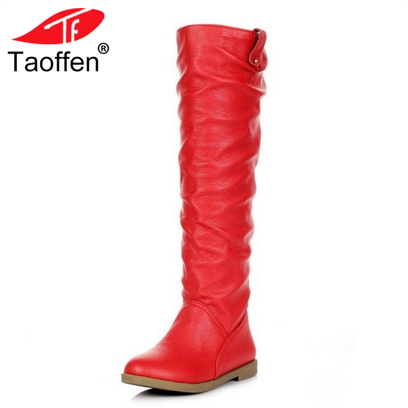 TAOFFEN Women Shoes Flats Knee Boots Plush Insole Fur Woman Shoes Fashion Long Boots Winter Casual Shoes Footwear Size 34-42 taoffen ladies leisure casual flats shoes low heels lady loafers sexy spring women brand footwear shoes size 34 42 p16166