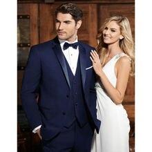 Groomsmen Notch Lapel Tuxedos Navy Blue Men Best Man Wedding Suits Tailored custom made