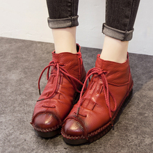 2017 Handmade Ankle Boots Flat Real Genuine Leather Shoes Botines Mujer Women Retro