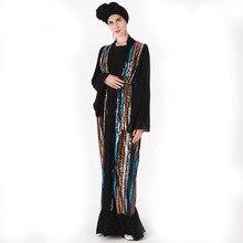 New Turkey Abaya women's long-sleeved Muslim gown women's wear Sequined lace wit