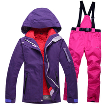 Outdoor waterproof windrpoof set skiing jacket and pants free shipping Women's winter ski set snowboard suit women