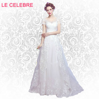 LE CELEBRE Luxurious lace nail bead small tail big bow wedding dress shoulder Princess Bride Wedding Dress 6700