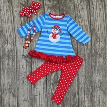 Christmas fall/winter baby girls snowman stripes top with polka dot pants children boutique Christmas clothing with accessories