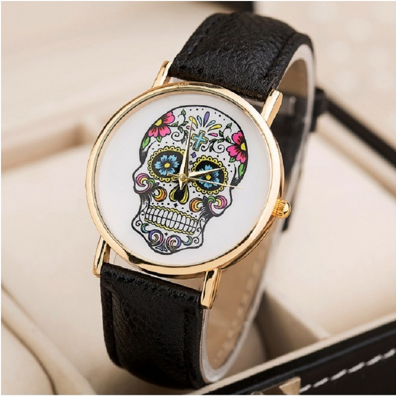 Top Skull Women Watch Mexican Catrina Flowers Cross Pu Leather wristwatch Girl Vintage Fashion casual geneva style Reloj A708 gnova platinum women watch casual dress wristwatch blue jeans bike pu leather reloj lady bicecly fashion geneva style a926