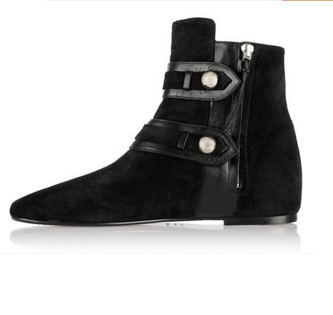 A New Winter Boots Autumn Suede Ankle Boots Suede Ankle Boots And A Double Breasted Female Nude Boots Ankle Heught Increasing 2016 autumn and winter new one breasted
