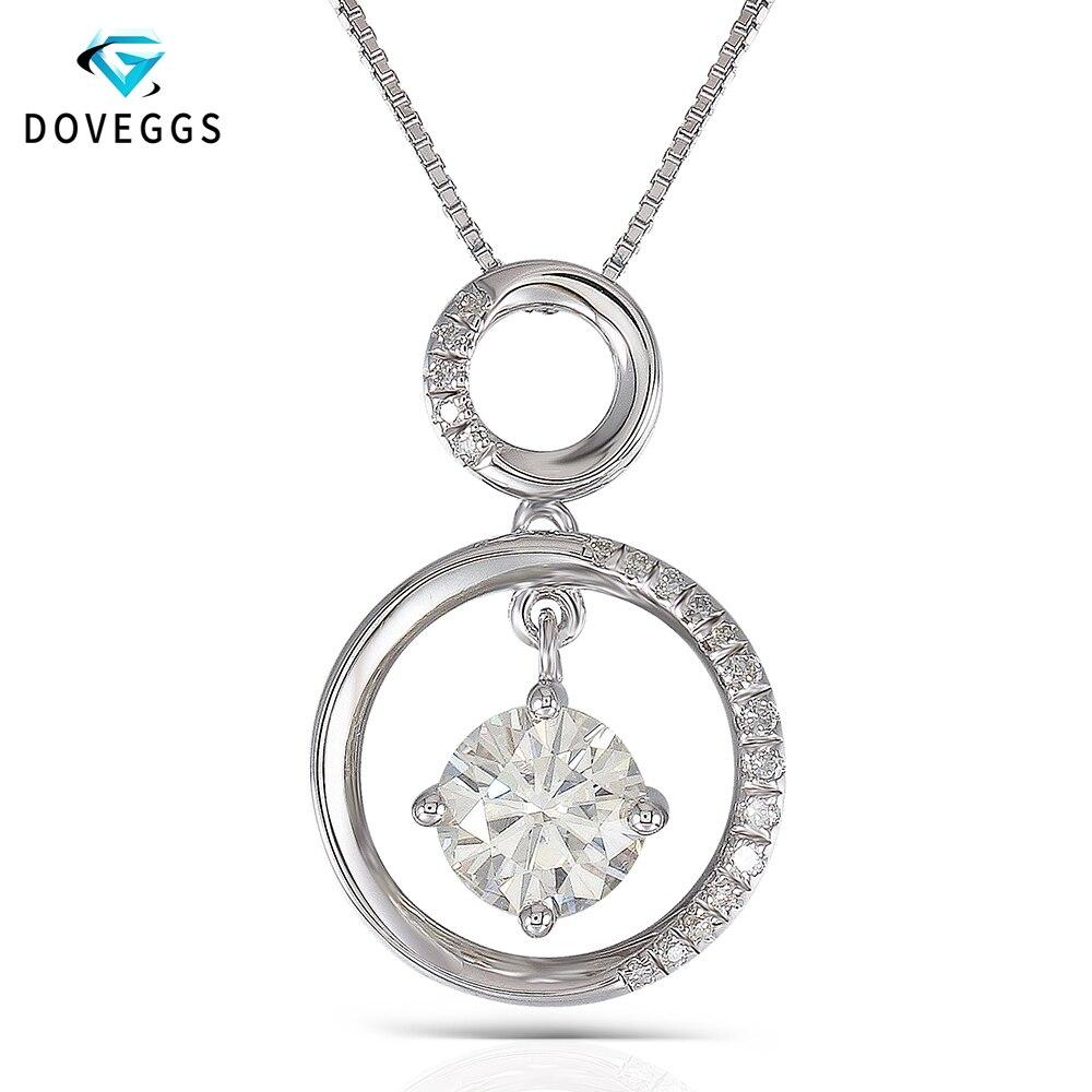 DovEggs 1.1CTW Центр 6,5 мм H почти бесцветный муассанитовый кулон цепочки и ожерелья платиновым покрытием серебро с акцентами для женщин