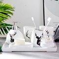 Keramik Badezimmer Zubehör Set Seife Dispenser/Zahnbürste Halter/Tumbler/Seifenschale/Baumwolle tupfer box/mit tablett Bad set