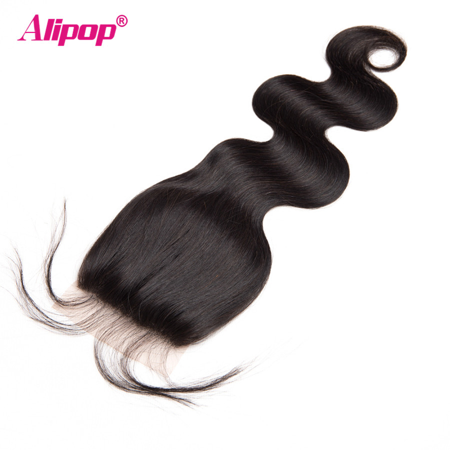4 Bundles Body Wave Bundles With Closure Human Hair Bundles With Closure Peruvian Hair Bundles Alipop Lace Closure Remy 5PCS