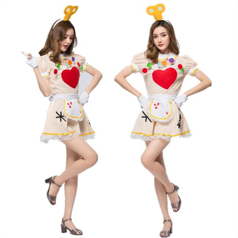 Funny Women 39 s Circus Clown Costume Halloween Carnival Adult Maid Cosplay