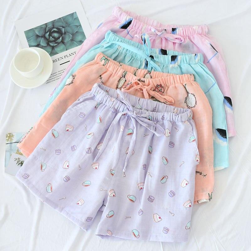 Women Cotton Shorts Double Gauze Home Pajama Pants Sleep Bottoms Summer Casual Beach Pants Sleep Wear Lounge Pajama Shorts