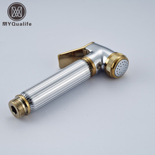 Chrome & Golden Hand-held Toilet Plating Spray Nozzle Sprinkler Shower Head Bidet
