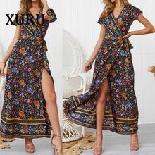 XURU Summer New Womens Print Dress Sexy V-neck Long Bohemian Holiday