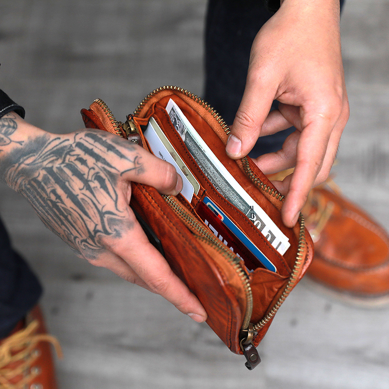 Brieftasche Bill brown Zipper Männlichen Junges Weibliche Schwarzes Clip Lange Handtasche Große Kapazität Rindsleder Bjyl Alte Machen Weiche Persönlichkeit Retro Leder wRqHxAt7